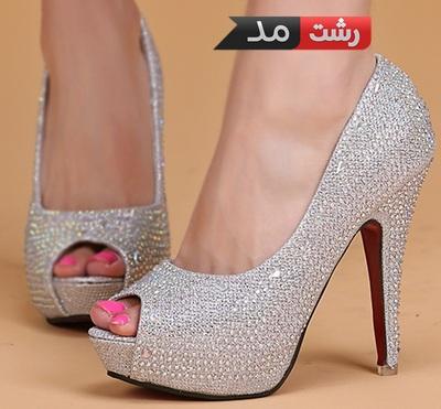 مدل کفش عروس اسپرت مجلسی زنانه دخترانه 2015کفش پاشنه بلند رنگ نقره ای زنانه دخترانه
