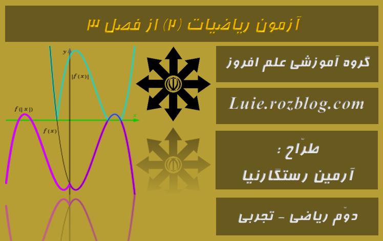 آزمون ریاضیات 2 از فصل دوّم (توابع خاصّ ، نامعادله و تعیین علامت)