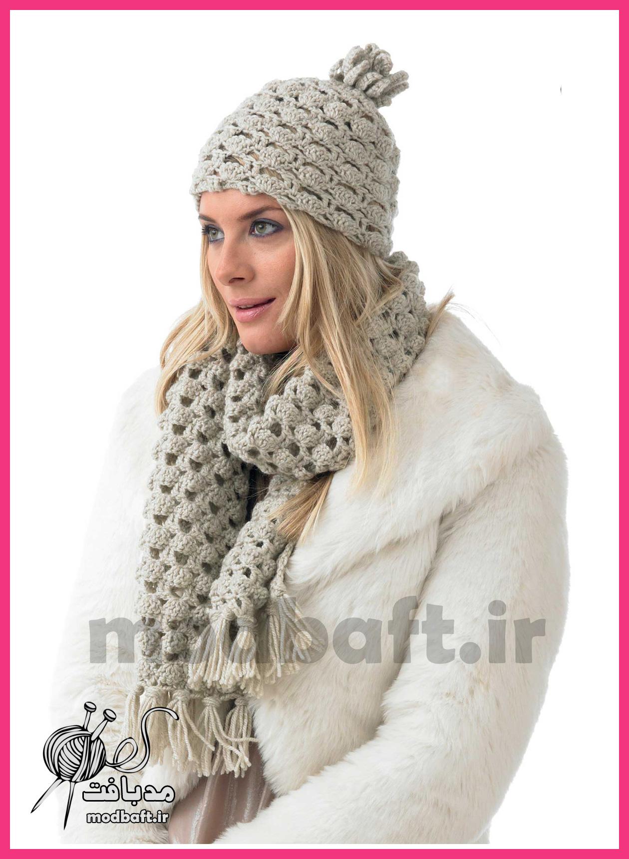 شال گردن زنانه قلاب بافی