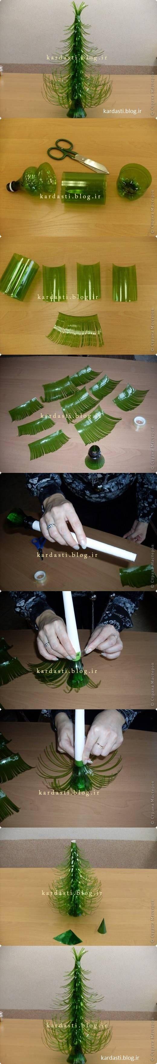 آموزش درست کردن درخت کاج با بطری پلاستیکی