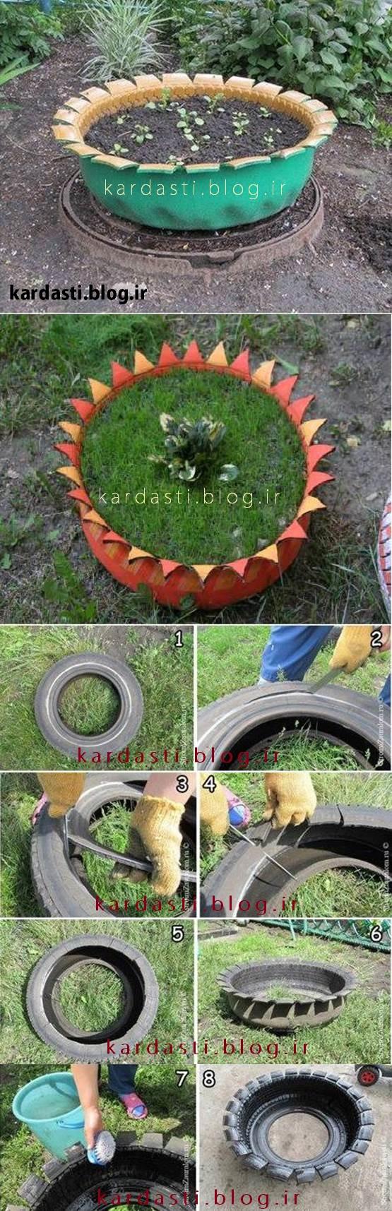 گلدان حیاط خلاقانه با تایر ماشین