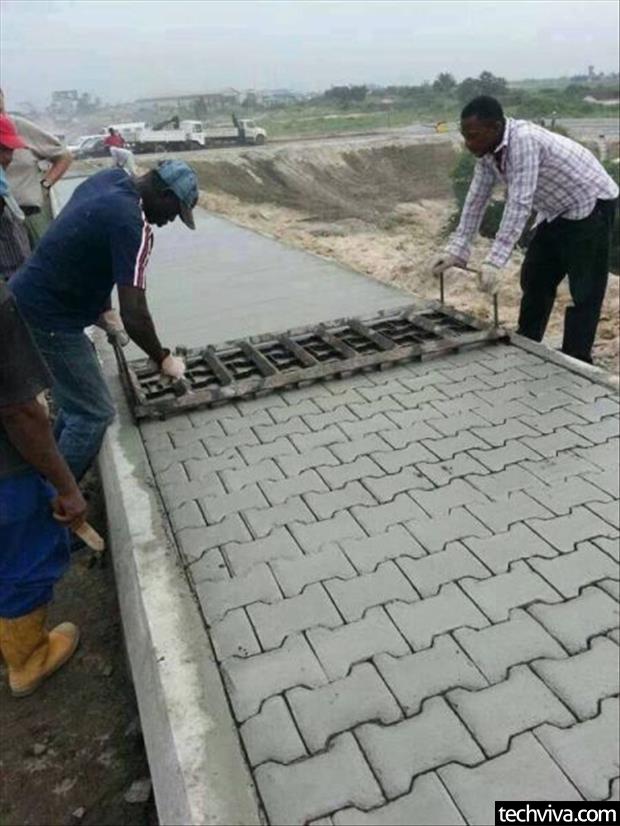ساخت سنگ فرش پیاده رو