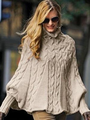 مدل پانچوی زمستانه بافتنی زنانه