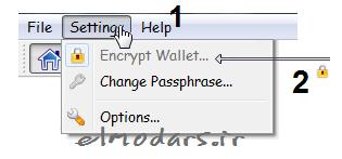 قفل کردن کیف پول داگ کوین کر (ایجاد رمز عبور) -Encrypt Wallet Dogecoin core - در سایت Elmodars.ir