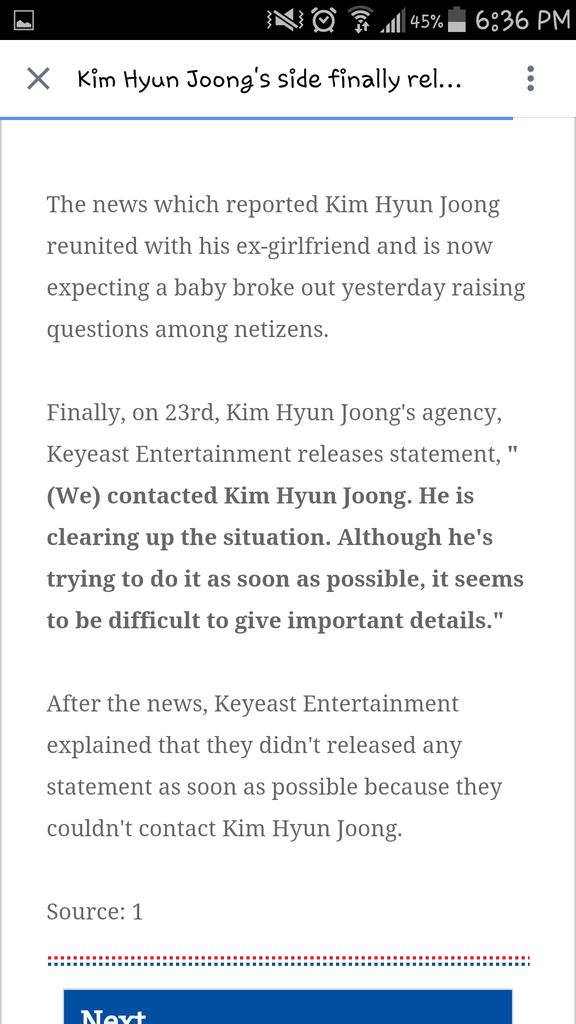 News - Kim Hyun Joong Denies Rumors He is Getting Back Together with Ex-Girl.friend and Her Pregnancy and marriage