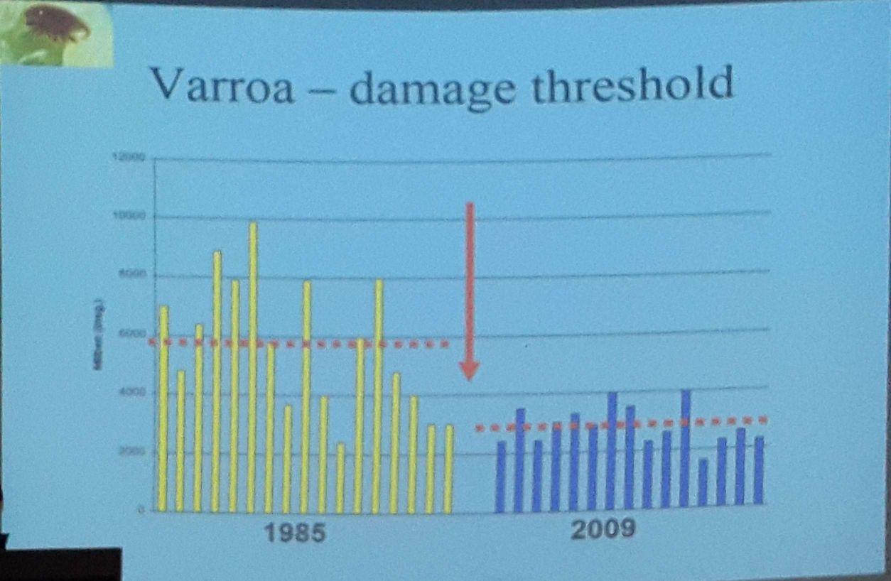 تعداد مایت لازم برای از بین بردن کلنی در سال 1985 و 2009