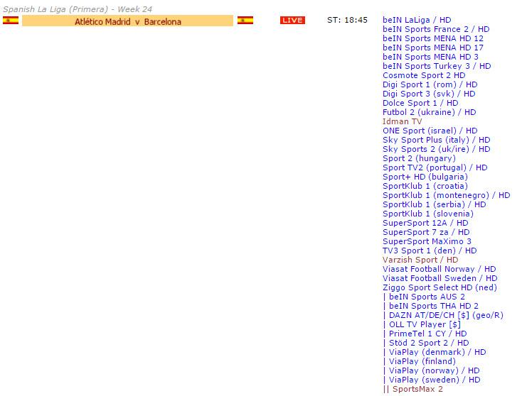 شبکه های پخش کننده بازی بارسلونا و اتلتیکو مادرید