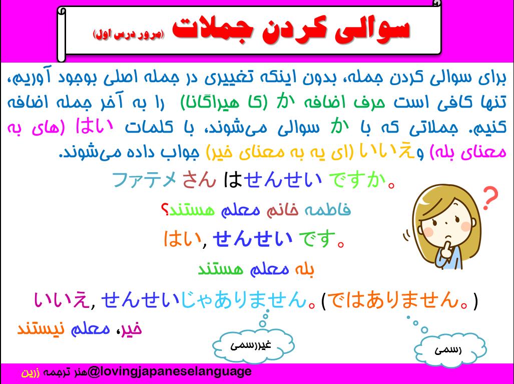 سوال و جواب به زبان ژاپنی هنر ترجمه زرین مترجم ژاپنی مدرس ژاپنی