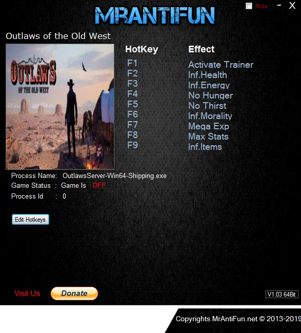 Outlaws of the Old West Trainer +8 v1.2.2 MrAntiFun