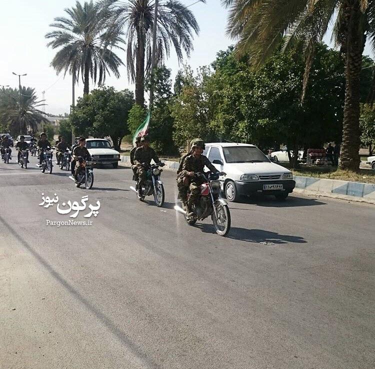 رژه موتوری به مناسبت آغاز هفته دفاع مقدس در شهر قیر