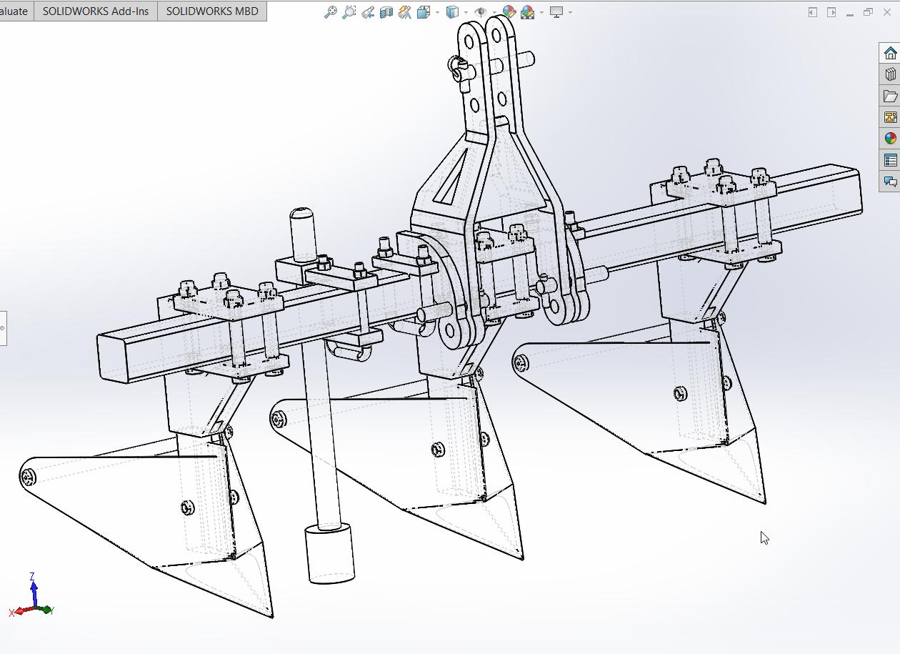 دانلود پروژه طراحی شده دستگاه نهرکن ( جوی و پشته ساز ) در نرم افزار سالیدورک و کتیا ( solidwork Catia )   تلماتو