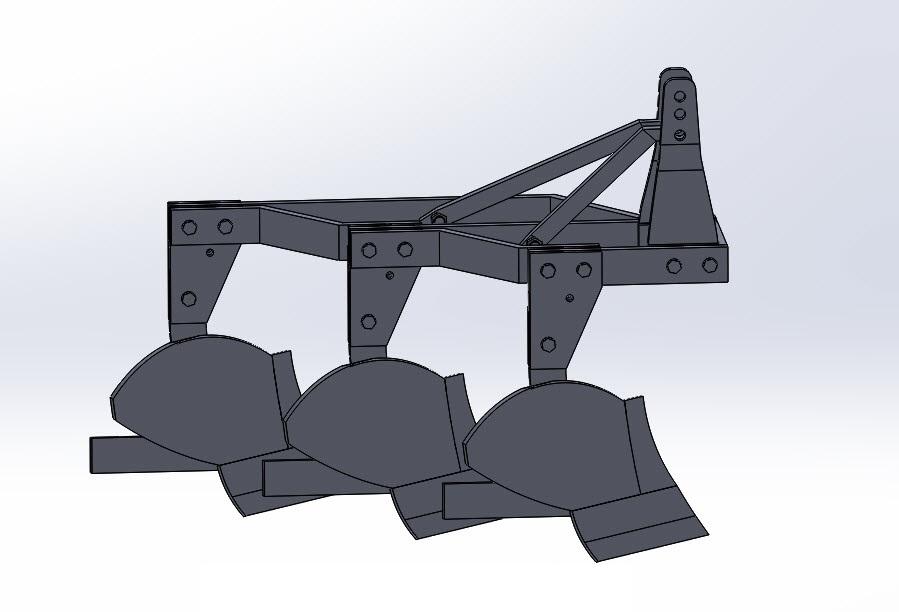 دانلود رایگان پروژه طراحی گاو آهن برگرداندار در سالیدورک سایز و اندازه قطعات design moldboard plow in solidwork