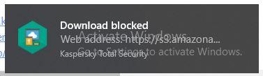 ظاهر شدن پی در پی پیغام download blocked توسط آنتی ویروس کسپرسکی
