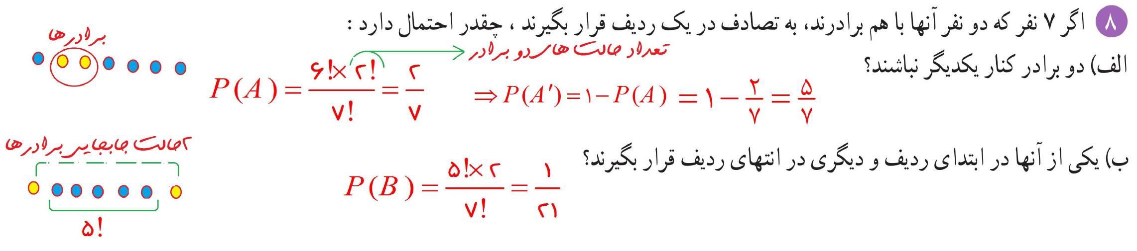 حل تمرین فصل هفتم ریاضی دهم